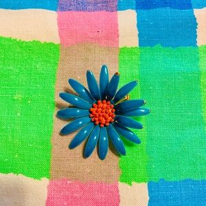 Vintage Painted Blue Red Whimsy Flower Brooch